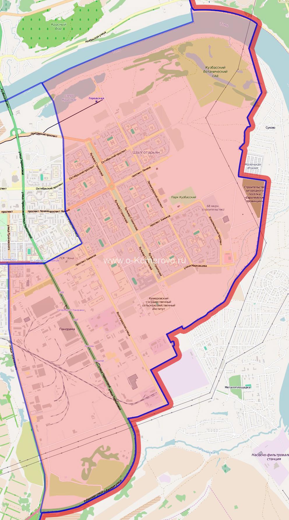 карта Ленинского района города Кемерово