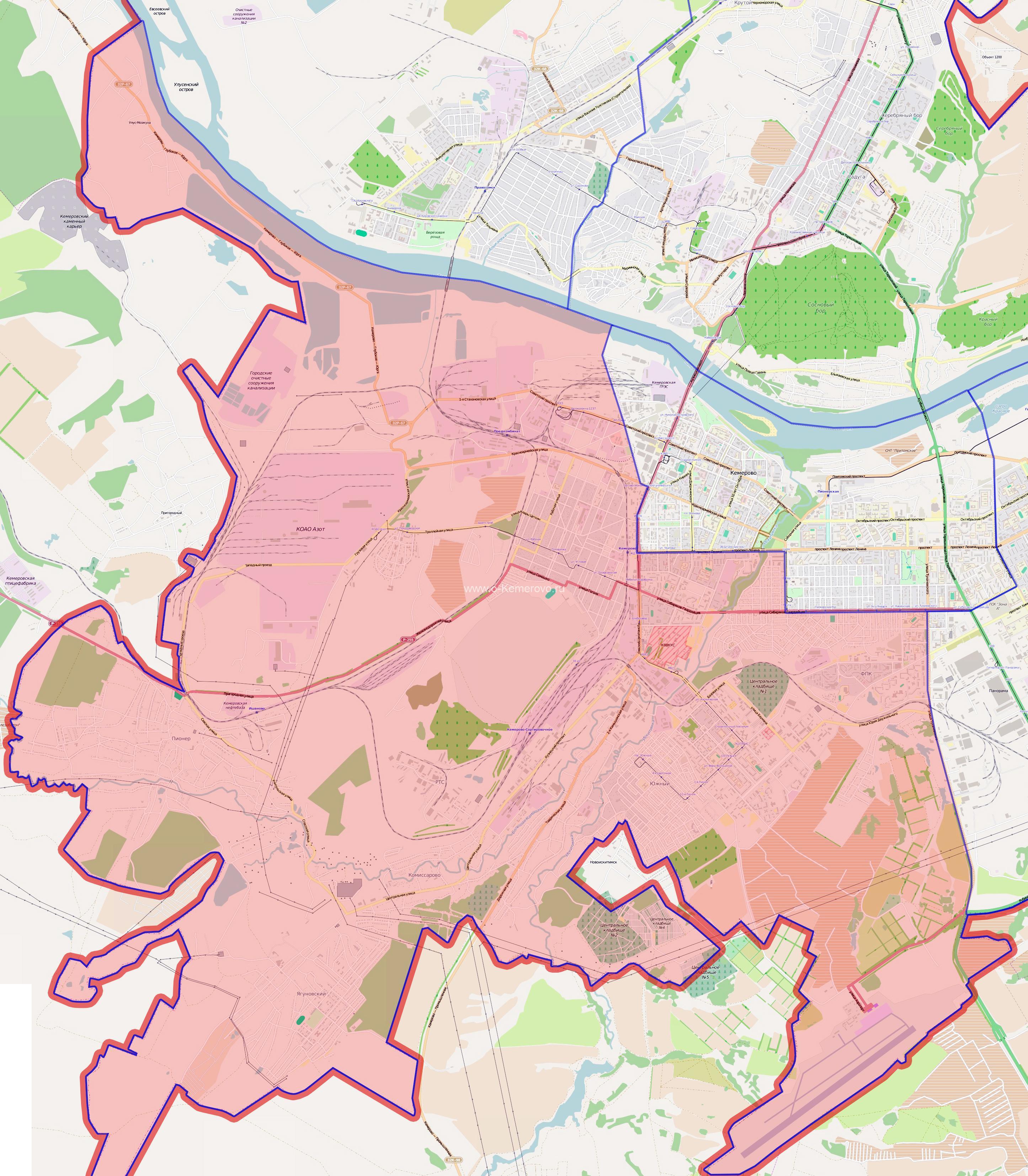 карта Заводского района города Кемерово