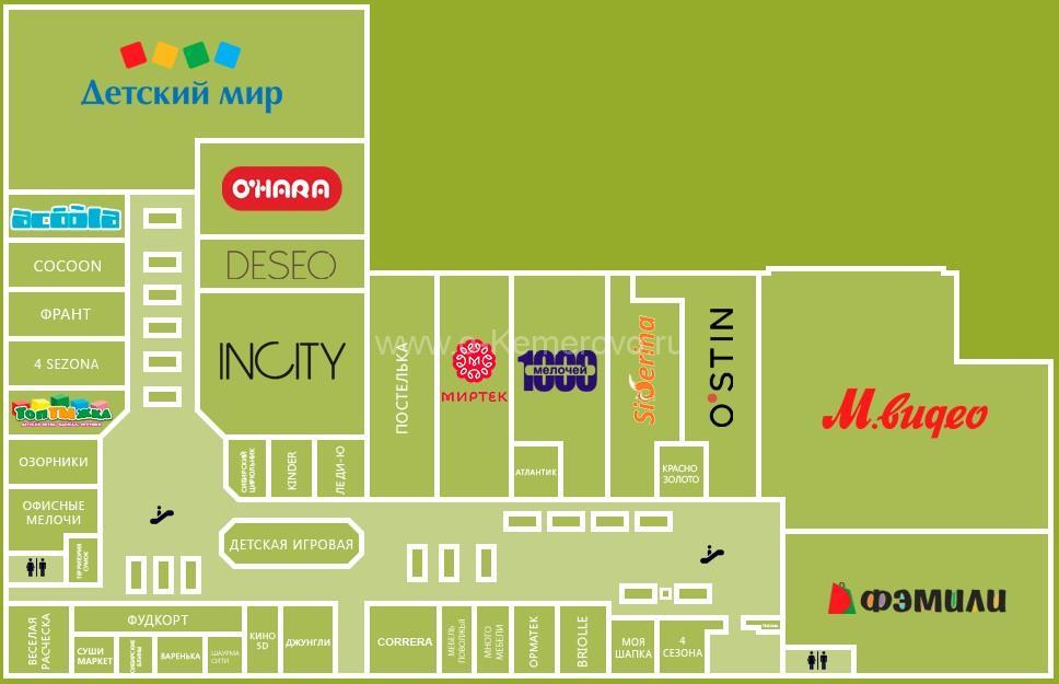 Схема расположения торговых точек на 2-м этаже ТРЦ Радуга, г.Кемерово