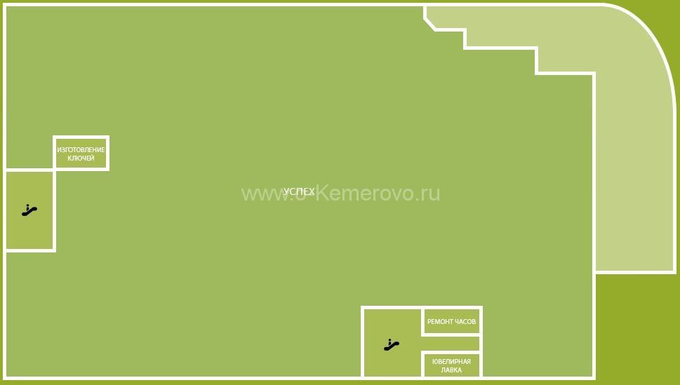 Схема расположения торговых точек в цокольном этаже ТРЦ Радуга, г.Кемерово