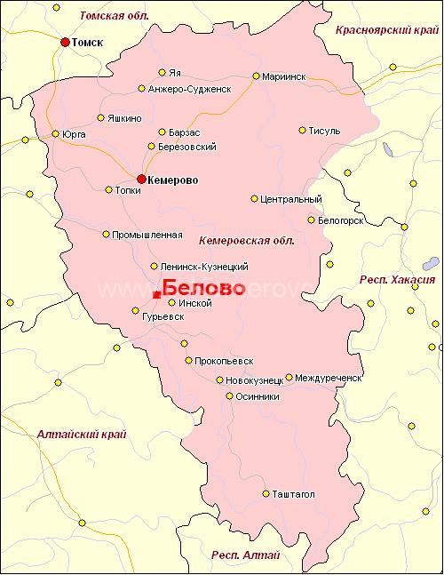 город Белово на карте Кемеровской области
