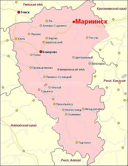 город Мариинск на карте Кемеровской области