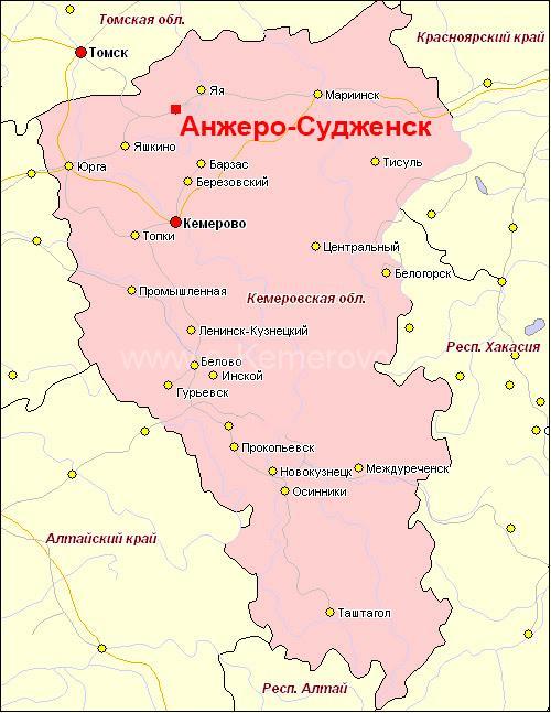 Город Анжеро-Судженск на карте Кемеровской области