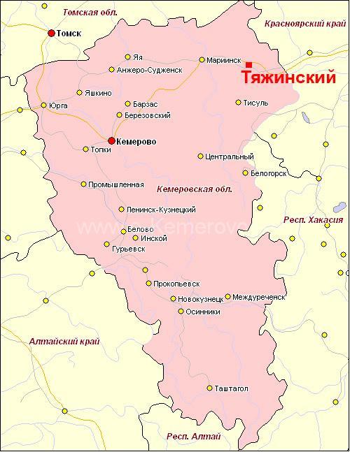 поселок Тяжинский на карте Кемеровской области