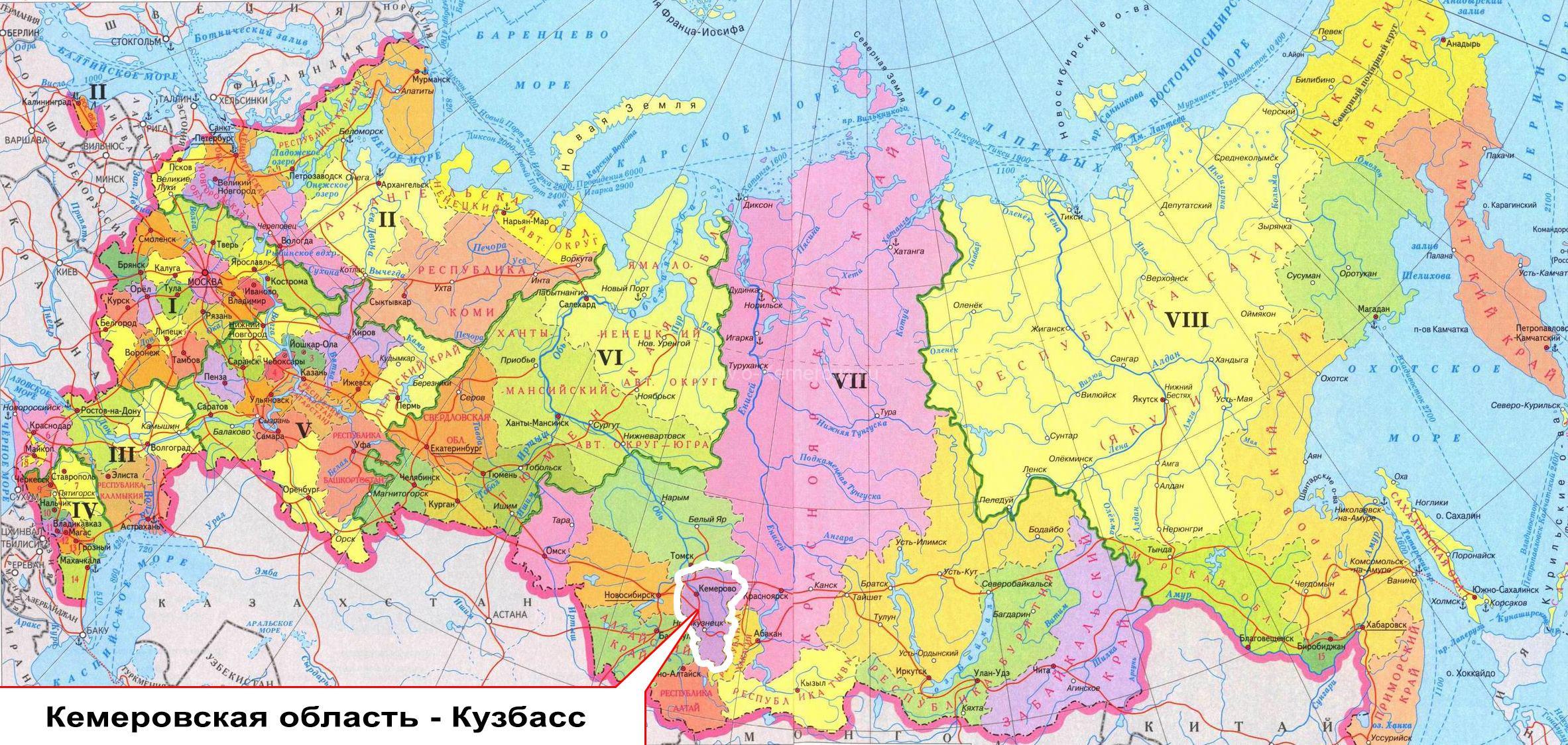Кемеровская область на карте России