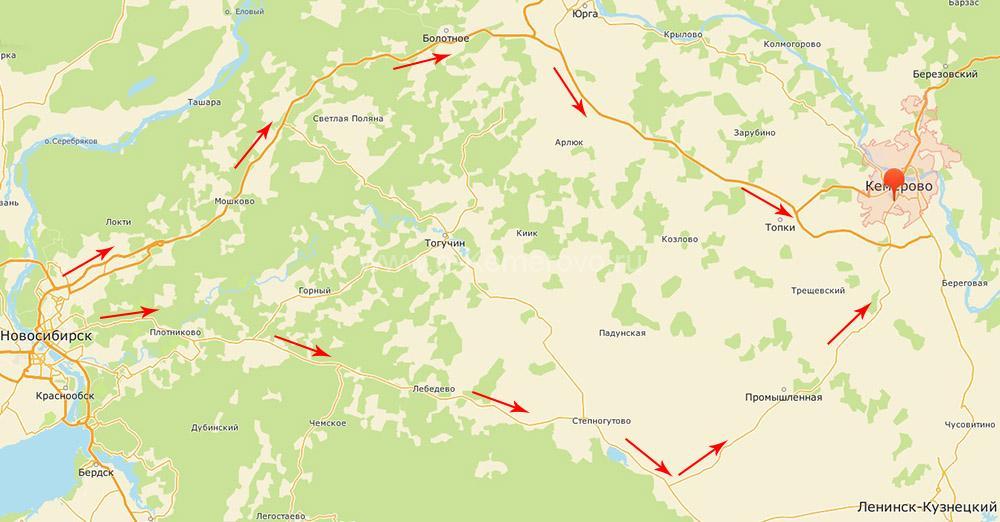 Как доехать до Кемерово на автомобиле с запада страны