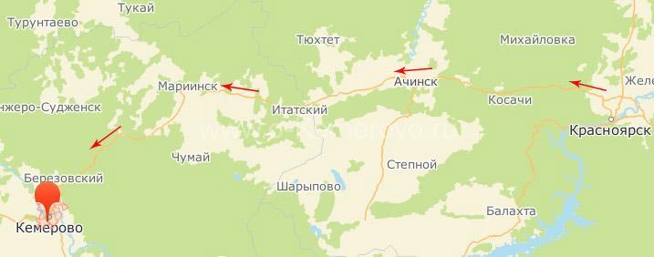 Как доехать до Кемерово на автомобиле с востока страны