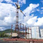 В Междуреченске строители возводят каркас будущего спорткомплекса
