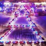 Кузбассовцев поздравили с Новым годом 60-метровой автоёлкой