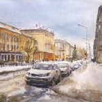 Металлург из Новокузнецка прошагал весенний город акварелью