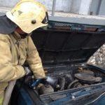 В центре Кемерова вспыхнул автомобиль