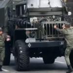 В Кемерове загорелась техника, участвовавшая в торжественном марше