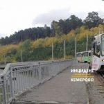 В Кемерове сломаный трамвай собрал пробку мосту