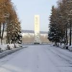 Памятник погибшим кузбассовцам на Притомской набережной зимой