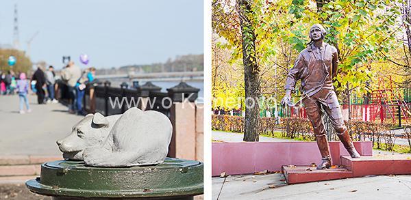Скульптуры на Притомской набережной в Кемерово