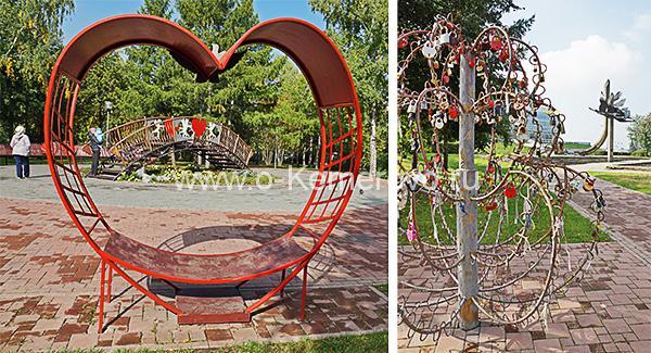 Декоративные конструкции в Сквере влюбленных в Кемерове