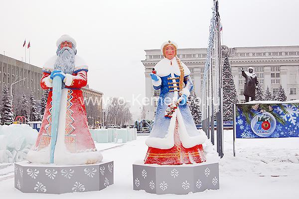 Площадь Советов в Кемерово зимой