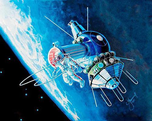 Картина Алексея Леонова, на которой он изобразил свой выход в открытый космос