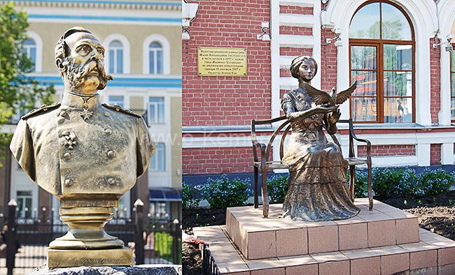 Бюст императора Александра II и памятник его супруге Марии Александровне в Мариинске Кемеровской области