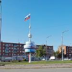 Стела на перекрестке пр.Шахтеров и ул.Терешковой, район Радуга